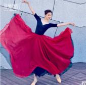 720度松紧腰大摆裙中国古典民族风舞蹈练功服表演出双层飘逸长裙 720度双层天丝裙大摆裙