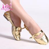 【售完为止】魅莎正品 肚皮舞鞋子舞蹈鞋练功鞋金色牛筋软底送鞋包 (偏小一码)