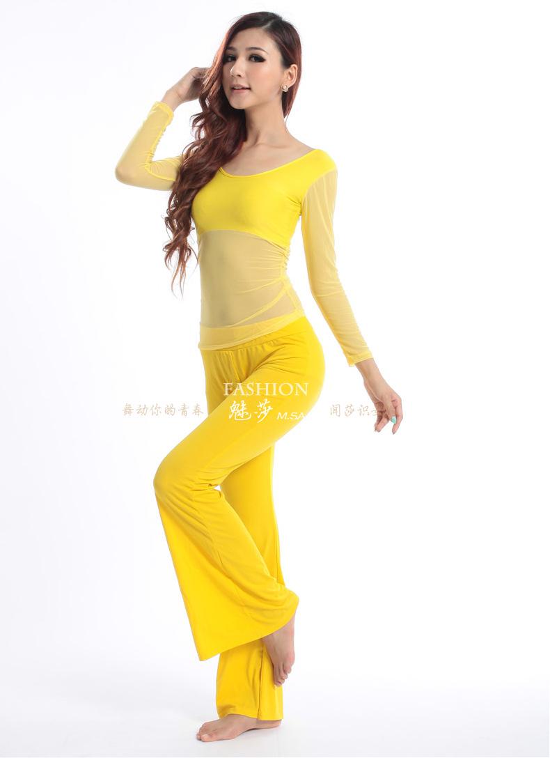 魅莎 肚皮舞服装套装 练习印度服饰 薄纱长袖上衣 水晶棉练习裤